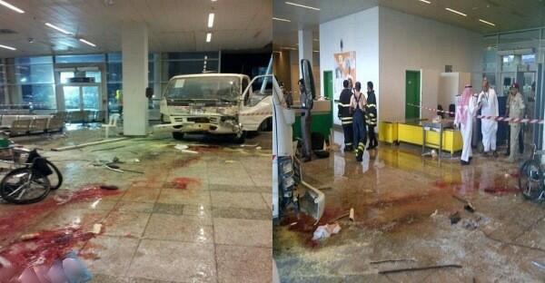 """""""بالصور"""" سيارة تقتحم صالة مطار جدة وتصيب وتقتل شخصين من الجنسية الايرانية"""