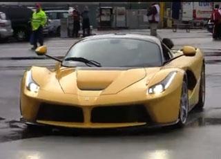 فيراري تطلق سيارتها لافيراري 2014 باللون الأصفر في أحد حلبات السباقات Ferrari LaFerrari