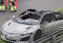 """""""فيديو"""" احتراق اكورا 2015 الجديدة كلياً اثناء اختبارها في حلبة نوربورغرينغ Acura"""