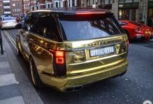 """""""بالصور"""" رنج روفر سعودية باللون الذهبي تخطف الانظار في مدينة لندن Range Rover"""