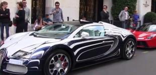 """""""بالفيديو"""" تجمهر كبير حول سيارتين سعوديتين """"لافيراري وبوجاتي"""" في مدينة باريس"""