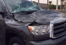 """""""بالصور"""" عمود إنارة يسقط على سيارة بطريق الملك عبدالله في مدينة الرياض"""