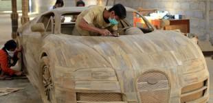 """""""بالصور"""" بوجاتي فيرون الخشبية في اندونيسيا تعرض للبيع بـ12,5 الف ريال سعودي"""