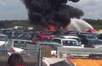"""""""فيديو وصور"""" شاهد تحطم طائرة سعودية خاصة في مطار بريطانيا وعلى متنها 4 أشخاص"""