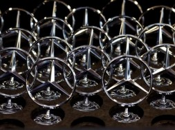 Car bonnet emblems for Mercedes-Benz S-class models are pictured at a plant in Sindelfingen