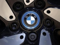 The BMW logo is seen on the wheel of a vehicle presented at the Auto China 2016 auto show in Beijing