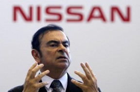Carlos Ghosn, Chairman and CEO of the Renault-Nissan Alliance, speaks during ceremony to mark five years since 2011 earthquake at the Nissan Iwaki Plant in Iwaki city, Fukushima prefecture, Japan