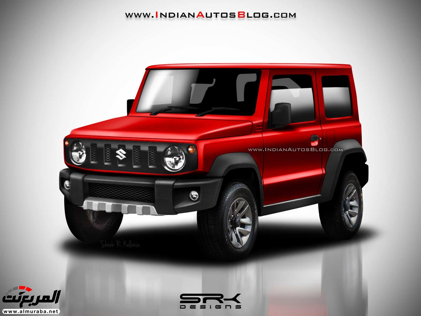 سوزوكي جيمني 2019 تظهر أثناء 2018-Suzuki-Jimny-Rendering-front-three-quarters-red.jpg