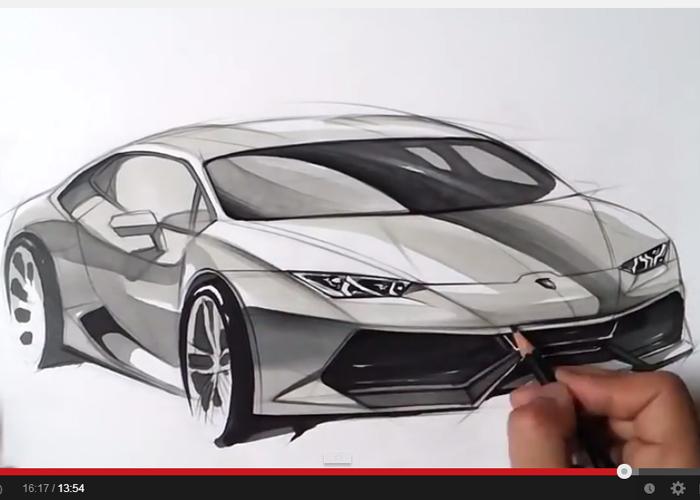 """""""فيديو"""" شاهد وتعلم كيف ترسم سيارة لامبرجيني هوراكان الجديدة بشكل ابداعي"""